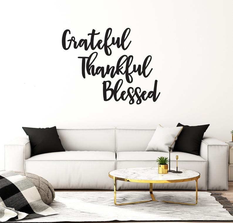 Wall Sign Home Decor Thankful Grateful Blessed, Wall Decor Letters