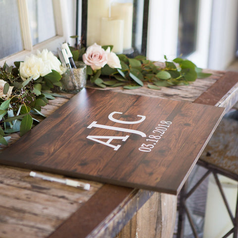 Wooden Monogram Wedding Guestbook