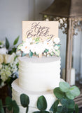 White Floral Birthday Cake Topper - Wedding Decor Gifts