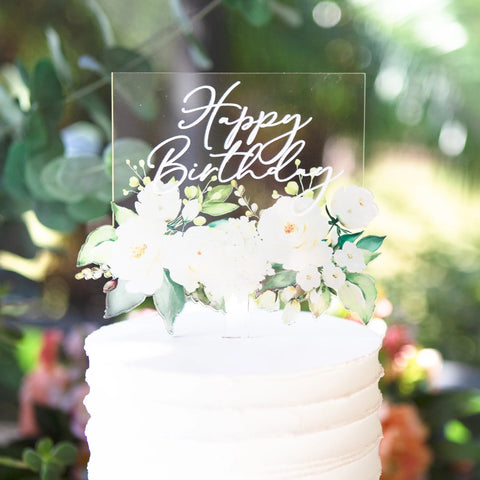 White Floral Birthday Cake Topper