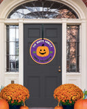 Halloween Family Name Sign, 2020 Mask Front Door Decor, Fall Decor, Wooden Circle, Personalized Halloween Gift Monogram Wood