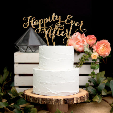 "Happily Ever After"" Wedding Cake Topper - Wedding Decor Gifts"