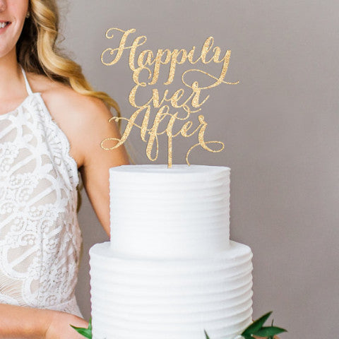 "Gold Wedding Cake Topper ""Happily Ever After"" - Wedding Decor Gifts"