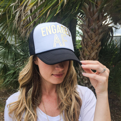 """Engaged AF"" Hat for Bride to Be"