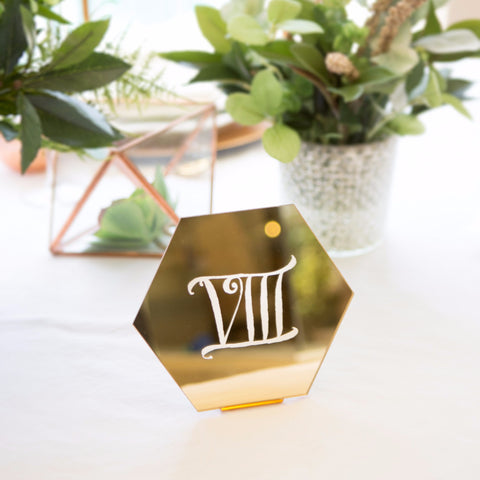 Hexagon Table Number Signs - Wedding and Gifts