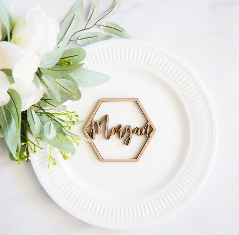 Hexagon Geometric Wood Plate Names - Wedding Decor Gifts