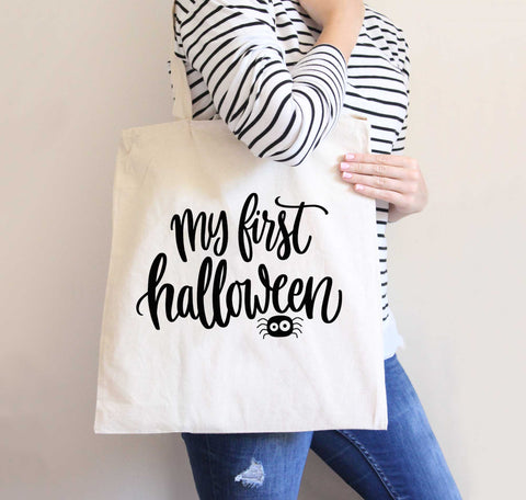 First Halloween Bag for Baby, Quote, Baby Halloween Tote Bag, Gift for Halloween, Fall Tote Bag, Cute Candy Bag for Fall Halloween