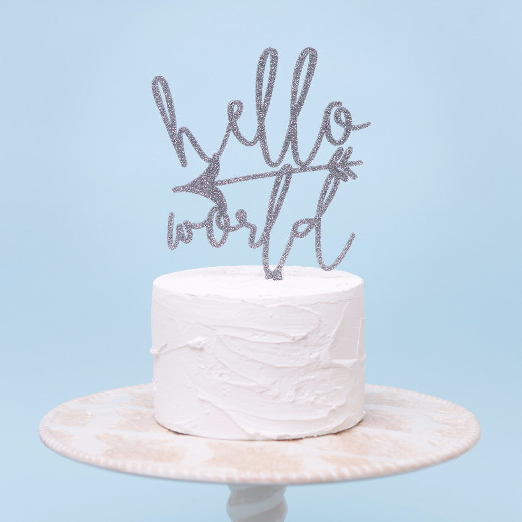 Hello World Baby Cake Topper - Wedding Decor Gifts