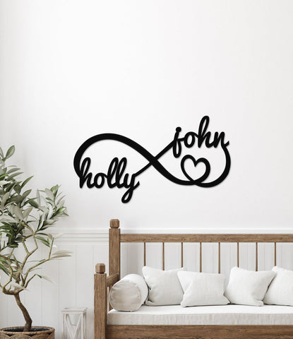 Infinity Sign with Names Home Decor Gift Metal or Wood Personalized Wedding Gift Eloped Decor Bedroom Gift for Couples