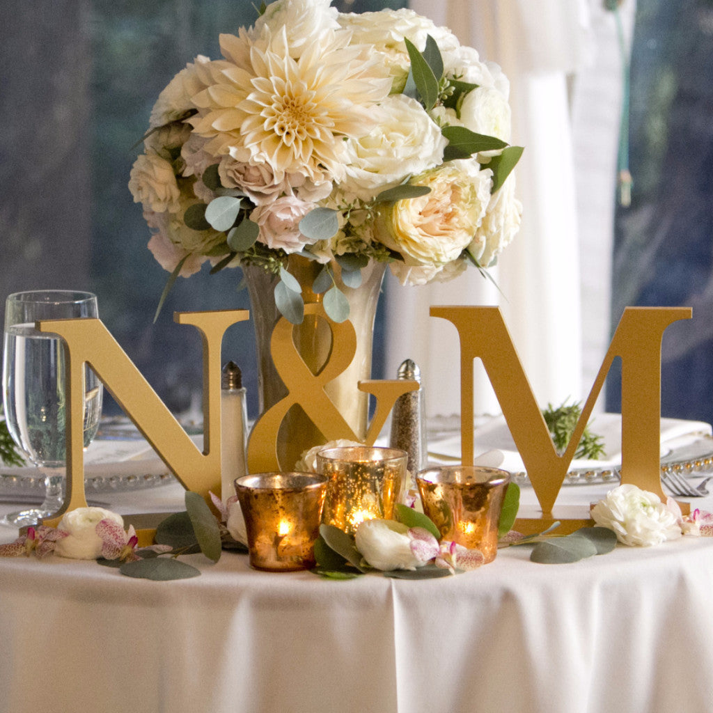 Personalized Initial Signs on Bases - Wedding Decor Gifts