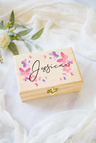 Flower Girl or Bridesmaids Gift Box Jewelry Box Personalized Name, Butterfly Wooden Box for Wedding Bridal Party Gift Box