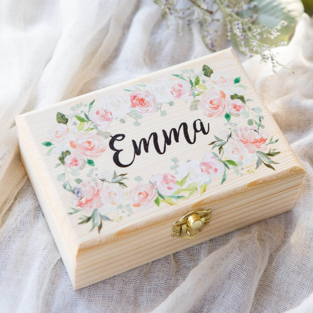 Personalized Floral Jewelry Box - Wedding Decor Gifts