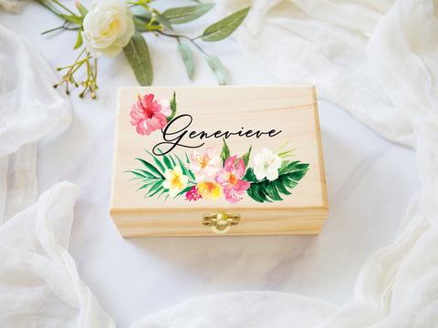 Tropical Personalized Name, Wooden Box - Wedding Decor Gifts