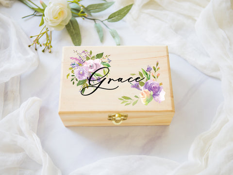 Jewelry Box Purple Personalized Name, Wooden Box - Wedding Decor Gifts