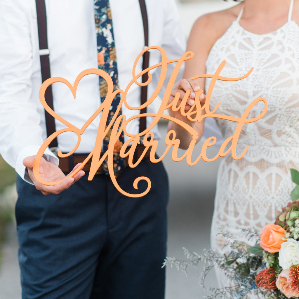 """Just Married"" Wedding Sign - Wedding Decor Gifts"