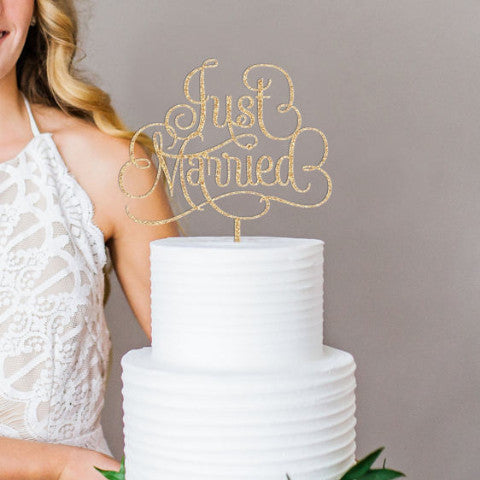 """Just Married"" Script Style Cake Topper - Wedding Decor Gifts"