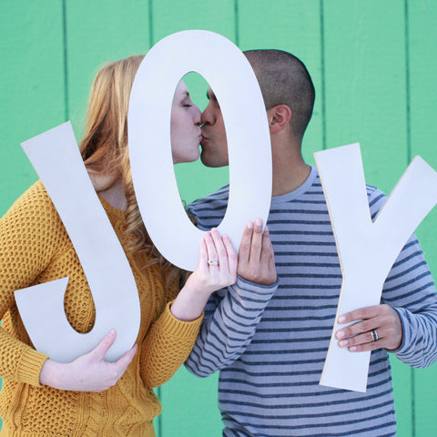 Joy Holiday Card Portrait Photo Prop Big Letters - Wedding Decor Gifts