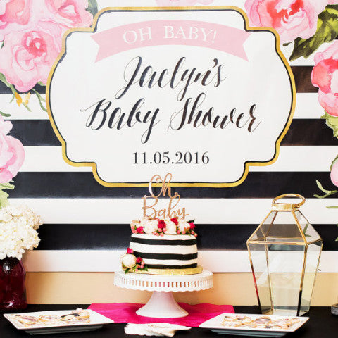 Striped Party Backdrop Sign
