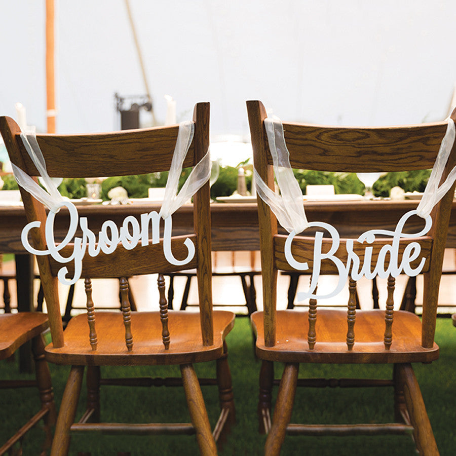 Image result for groom and bride chair signs
