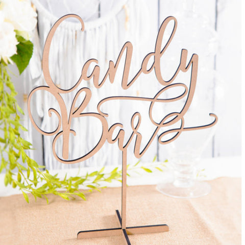 Wood Candy Bar Table Sign - Wedding Decor Gifts