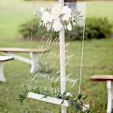 Clear Acrylic Floral Wedding Sign - Wedding Decor Gifts
