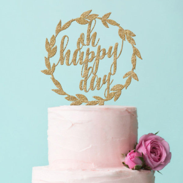 Laurel Wreath Boho Chic Cake Topper - Wedding Decor Gifts