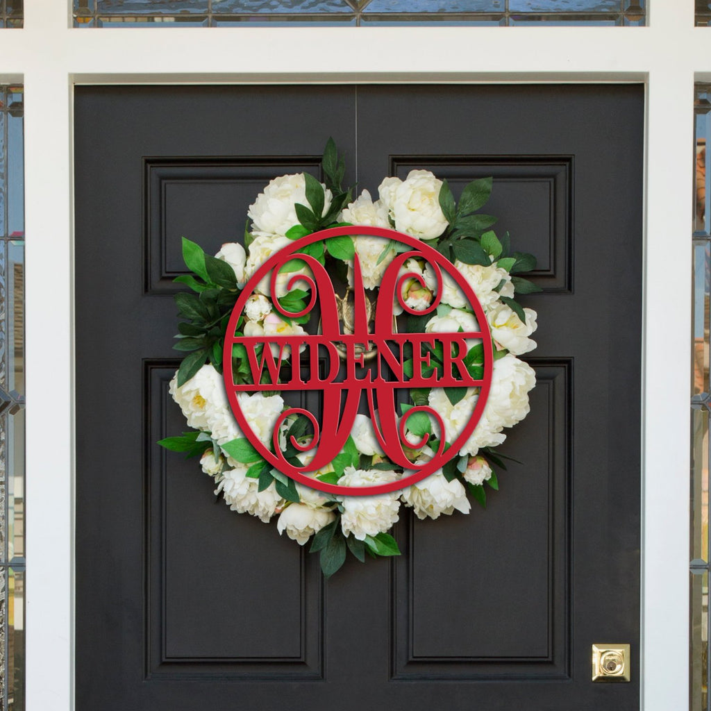 Circle Last Name Monogram Door Sign - Wedding Decor Gifts