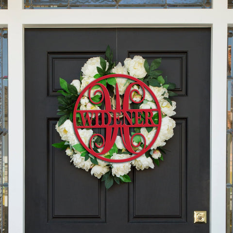 Home Decor Circle Last Name Monogram Door Sign
