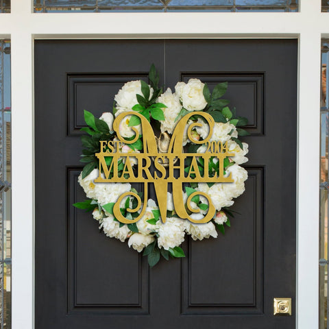Established Last Name Monogram Door Sign - Wedding Decor Gifts