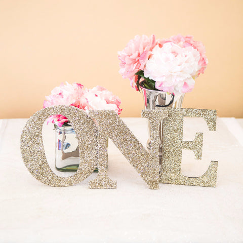 """ONE"" First Birthday Glitter Letters - Wedding Decor Gifts"