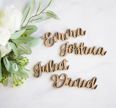 Wood Plate Names, Cutout Words for Wedding Party or Event Decor