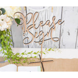 "Standing Guestbook Table Sign ""Please Sign"" - Wedding Decor Gifts"