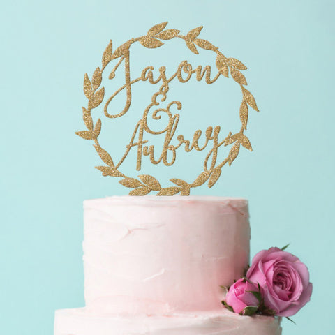 Personalized Laurel Wreath Boho Cake Topper