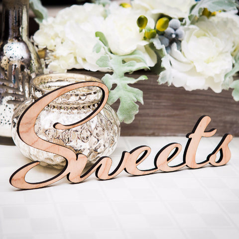 Wooden Sweets Word Cutout - Wedding Decor Gifts