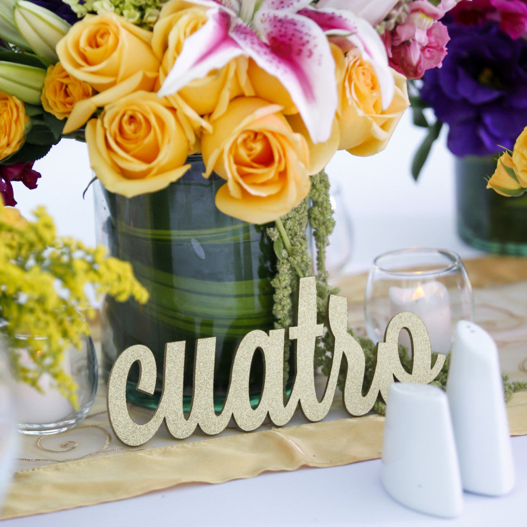 Table Number Words in Spanish - Wedding Decor Gifts