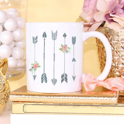Coffee Mug Gift for Her Floral Arrows - Wedding and Gifts
