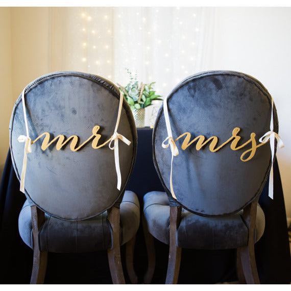 Mr and Mrs Chair Signs - Wedding Decor Gifts