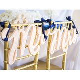 wedding chair signs, mr and mrs wedding, chair decor