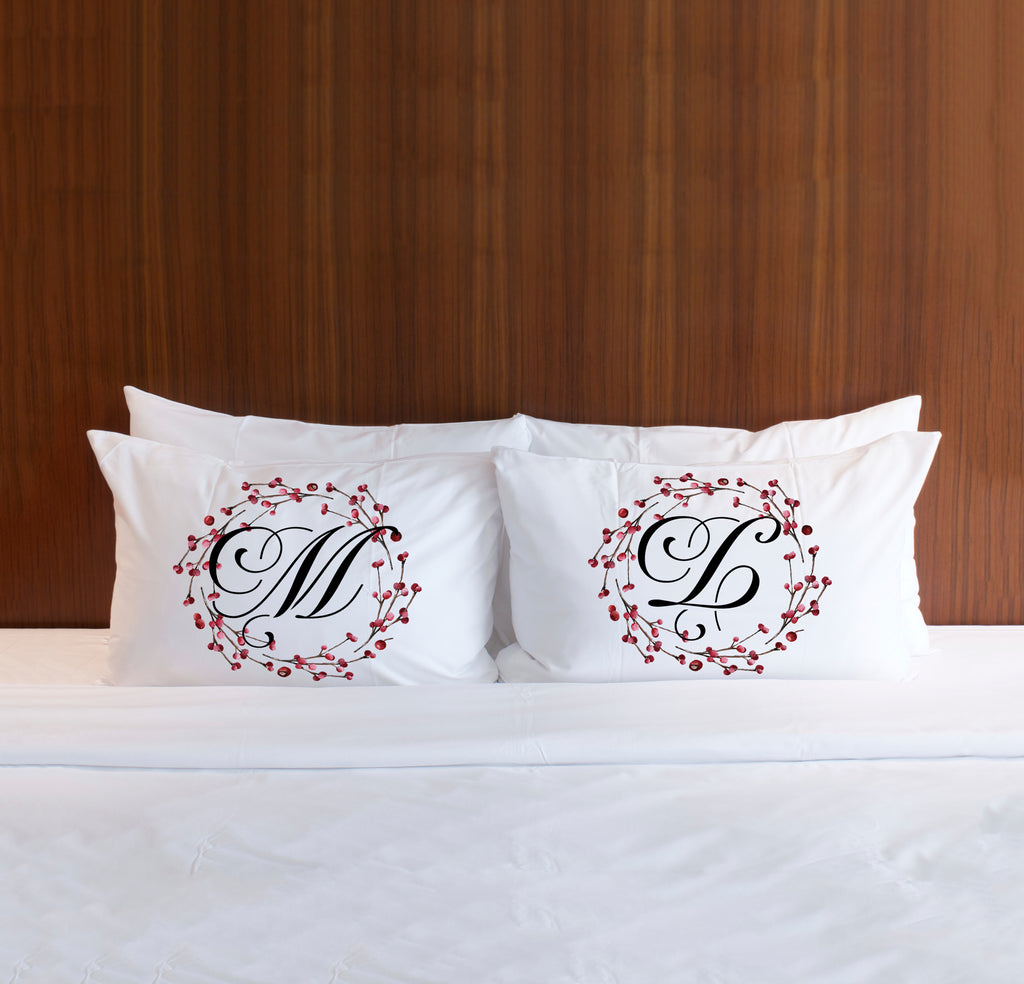 Chrstmas Pillowcases for Couples Holiday Home Decor Pillows for Couple Bedroom Christmas Monogram Gift Decor Cute