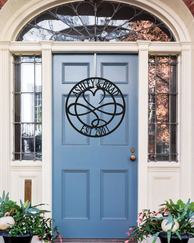 Metal Sign Front Door Monogram, Custom Outdoor Metal Sign for House Decor Address Sign Family Sign Front Door Infinity Heart