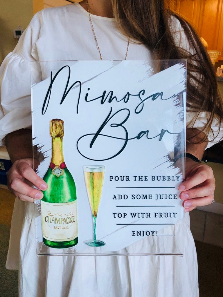 Mimosa Bar Sign, Bridal Shower Decor Clear Sign, Personalized Bridal Brunch Sign Bridal Shower Decor Clear Acrylic Sign