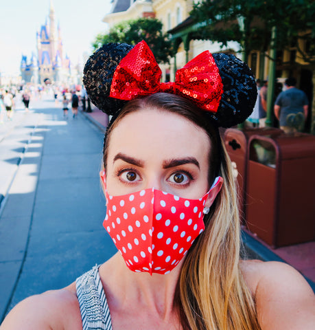 Mask Red Polka Dot Mouse Inspired Mask for Adult Sized Mask