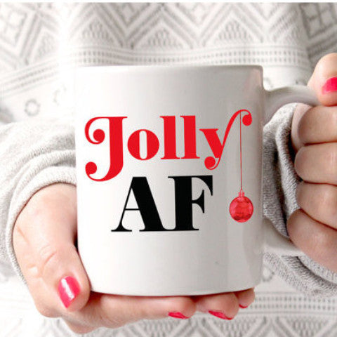 "Holiday Coffee Mug, Gift for Christmas ""Jolly AF"" - Wedding Decor Gifts"