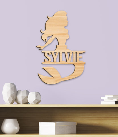 Name Sign, Mermaid Room Sign, Girl's Decor, Personalized Kids Wood Sign, Wooden Name Sign, Mermaid Kids Name Sign Gift