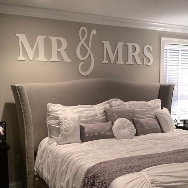 Mr mrs wall hanging decor set z create design - Above the headboard decorating ...