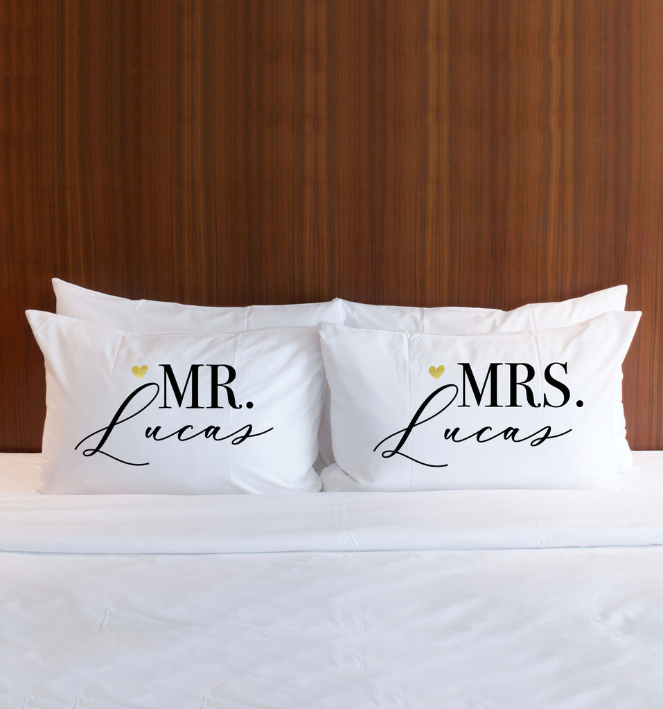 """Mr & Mrs"" Personalized Pillowcases Gift for Couple - Wedding Decor Gifts"