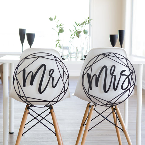 Modern Geometric Mr & Mrs Wedding Chair Signs