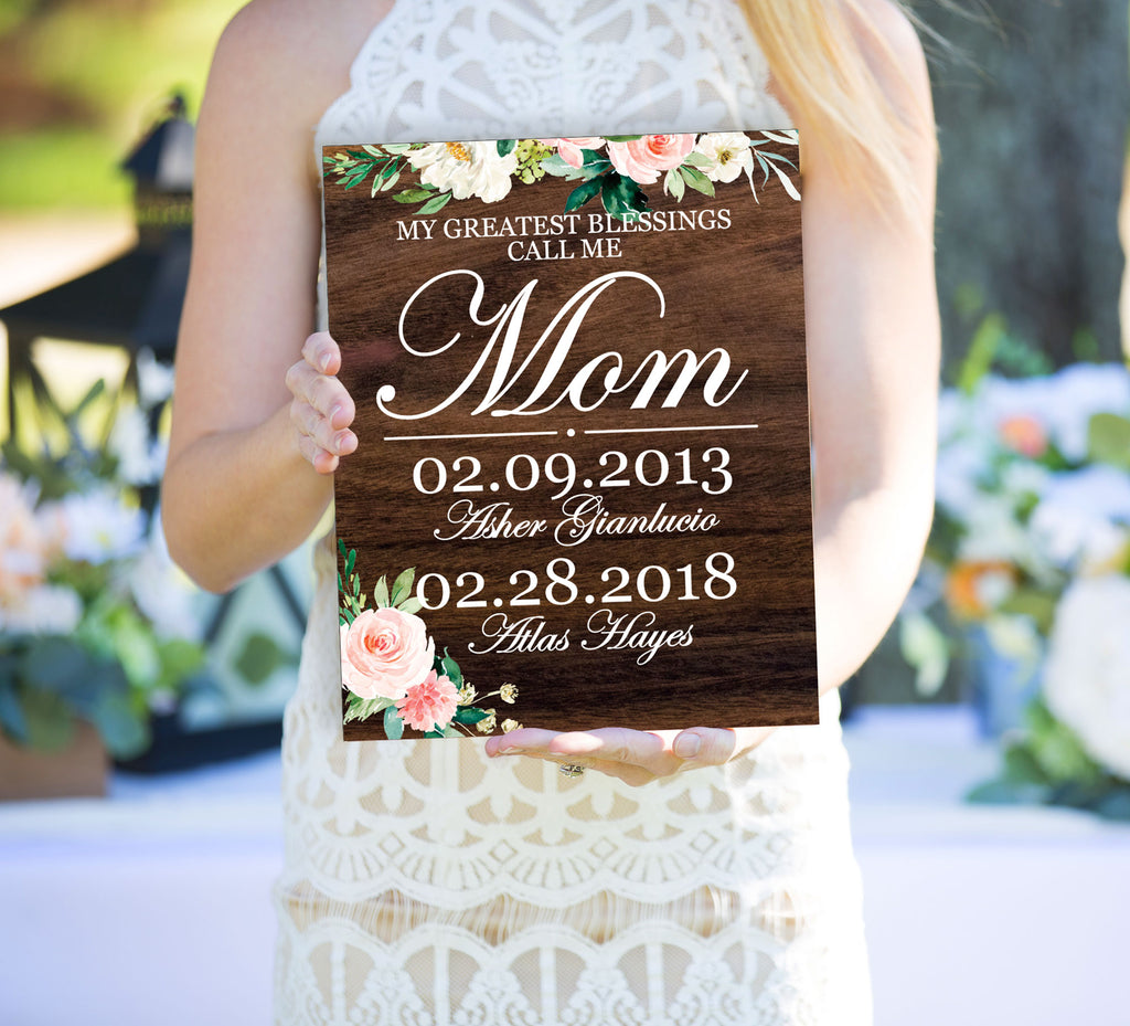 Mother's Day Gift Sign With Kids Names and Birthdates - Wedding Decor Gifts
