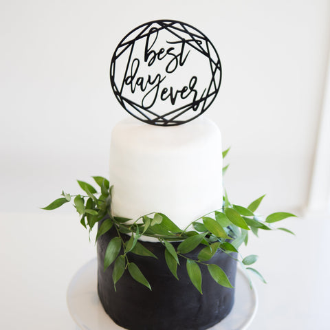 Modern Geometric Best Day Ever Wedding Cake Topper