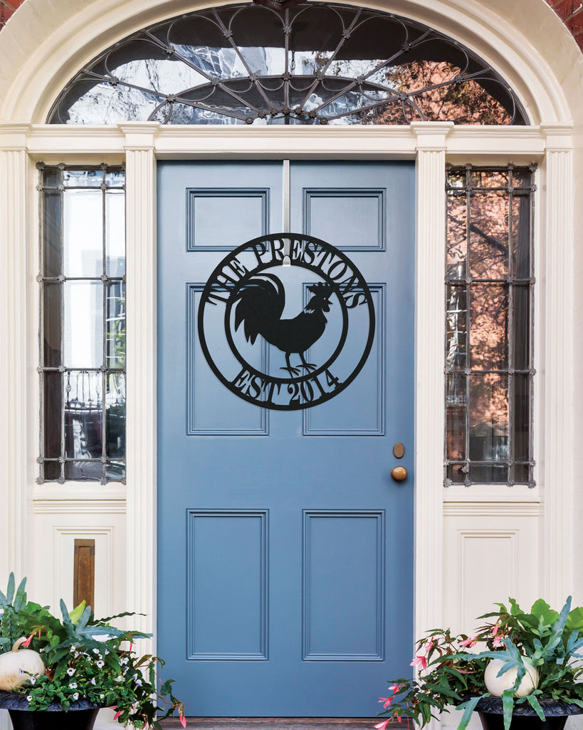 Metal Sign Front Door Monogram, Rooster Custom Outdoor Metal Sign for House Decor Address Sign Family Sign for Front Door Farm